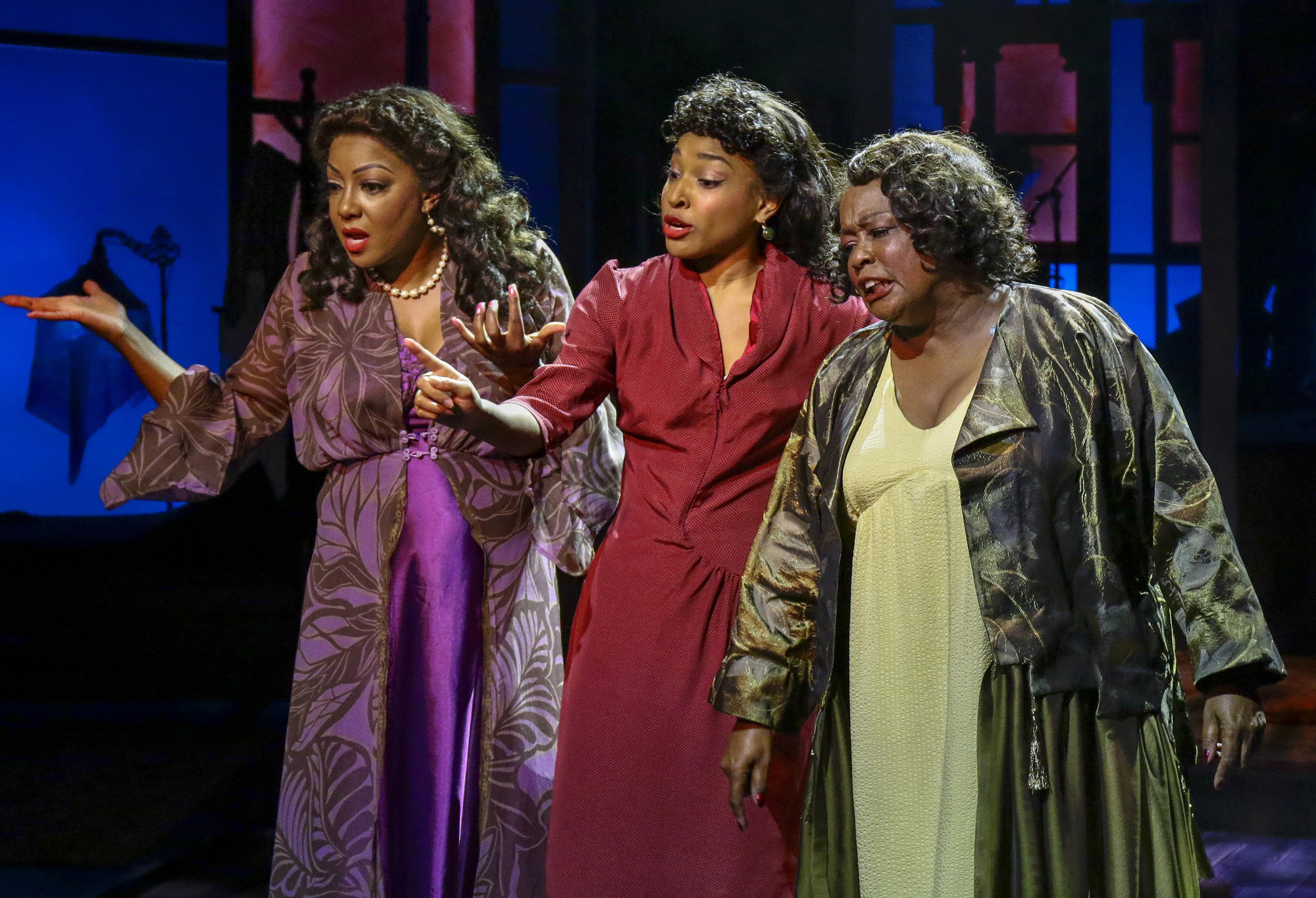 Paulette Ivory (The Woman Of The World), Bryce Charles (The Girl With A Date), Yvette Cason (The Lady From The Road). BLUES IN THE NIGHT. Photo Credit: Lawrence K. Ho.