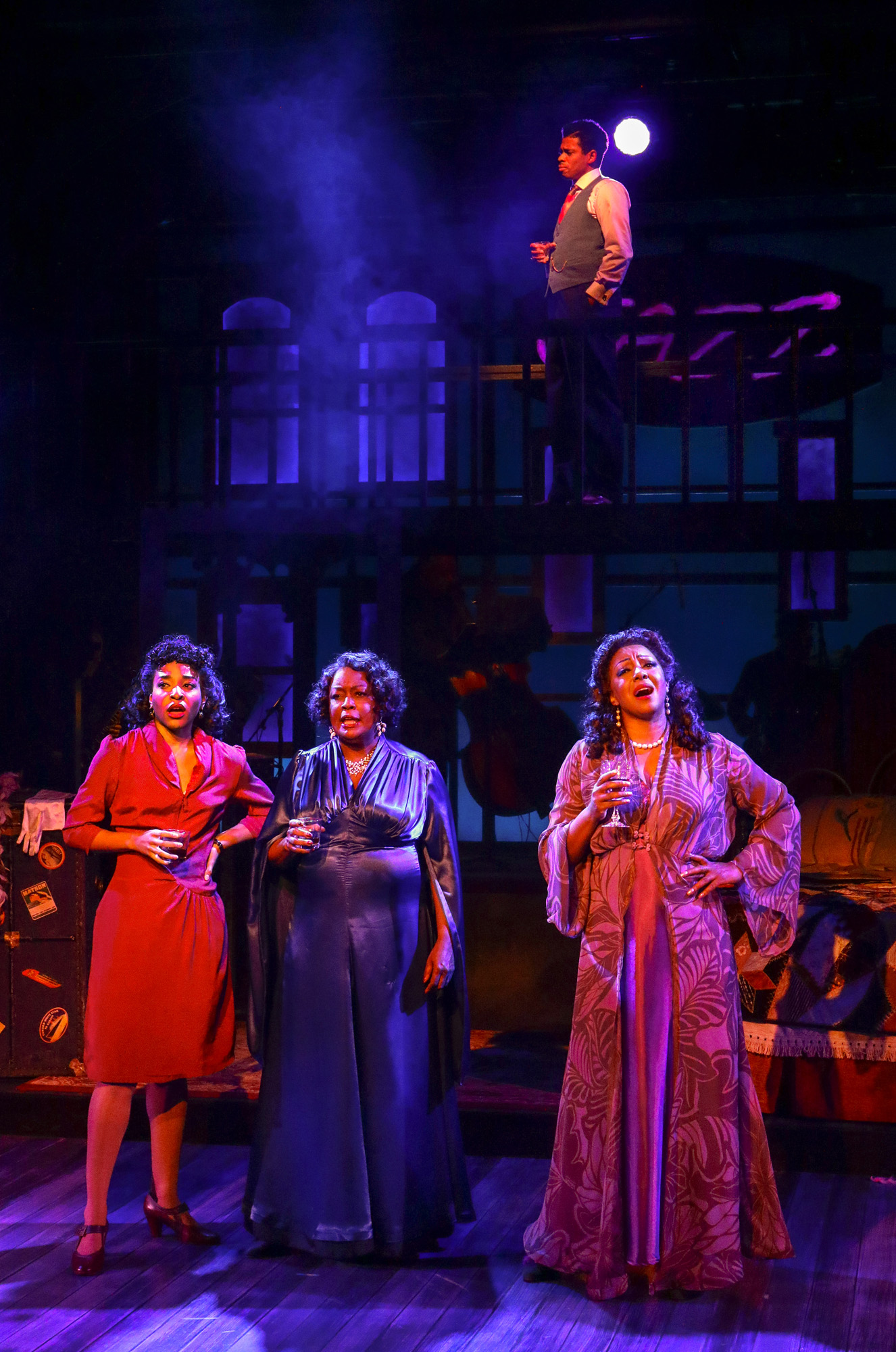 Bryce Charles (The Girl With A Date), Yvette Cason (The Lady From The Road), Paulette Ivory (The Woman Of The World), Chester Gregory (The Man In The Saloon). BLUES IN THE NIGHT. Photo Credit: Lawrence K. Ho.