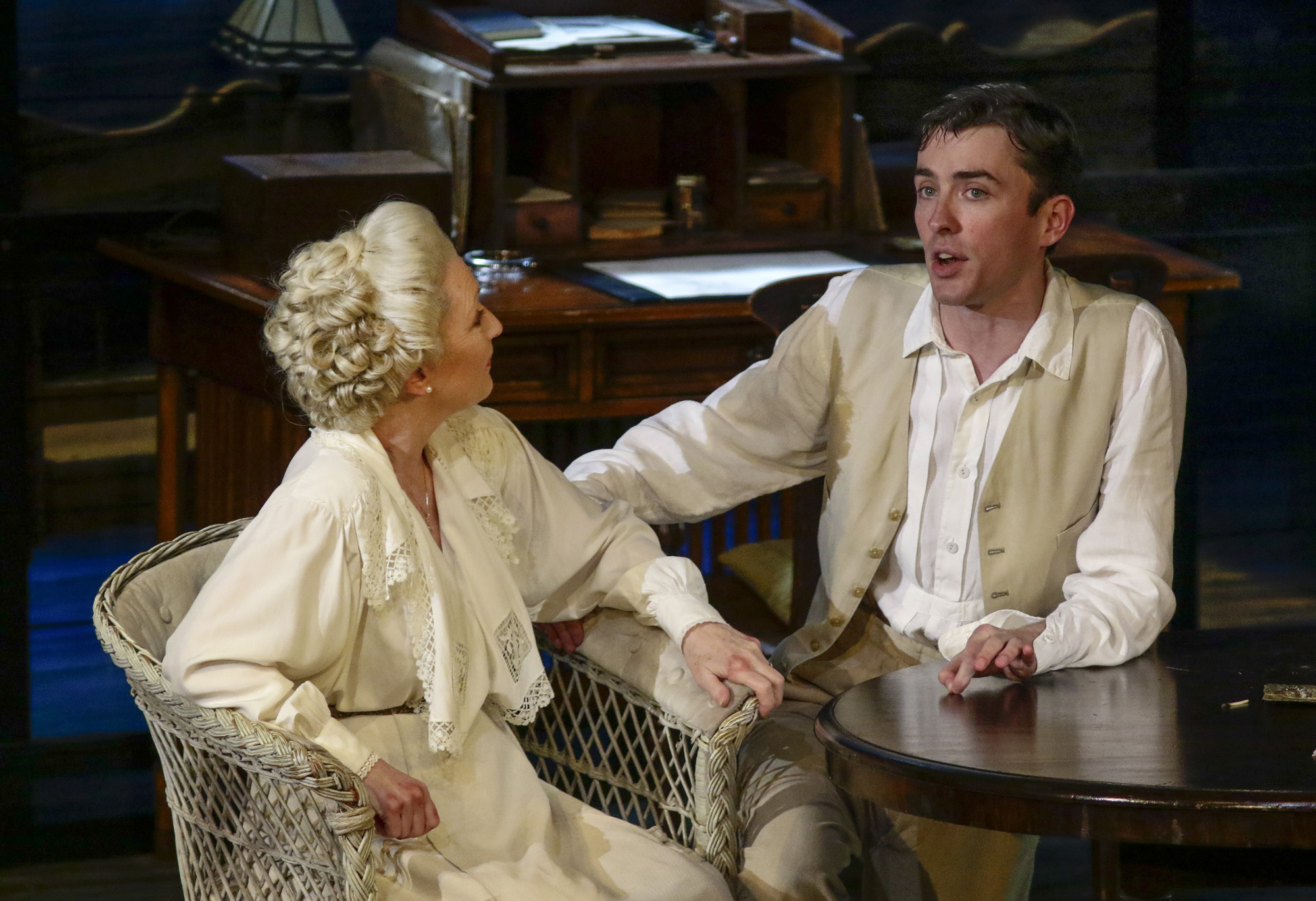 Lesley Manville (Mary Tyrone), Matthew Beard (Edmund Tyrone). PHOTO CREDIT: Lawrence K. Ho